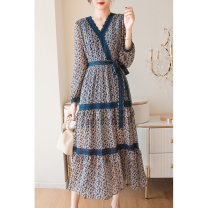 Dress Summer 2021 Blue, apricot red S,M,L,XL longuette singleton  Long sleeves street V-neck High waist Broken flowers Socket A-line skirt other Type A Rifan Valley Lace, lace, print 21SXLJ_ nine thousand three hundred and sixty-five More than 95% polyester fiber Europe and America