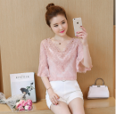 Lace / Chiffon Summer of 2018 White, yellow, pink, this one has sling S,M,L,XL,2XL elbow sleeve Versatile Socket Two piece set easy Regular V-neck Solid color pagoda sleeve 25-29 years old Gouhua hollow