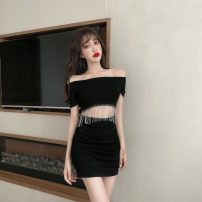 Dress Summer 2020 White, black S,M,L Short skirt Fake two pieces Short sleeve commute One word collar middle-waisted Solid color Socket Pencil skirt routine Others 18-24 years old T-type Korean version fold 31% (inclusive) - 50% (inclusive) brocade cotton