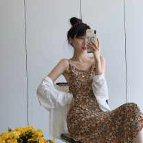 Dress Summer 2020 Secret Garden S,M,L longuette singleton  Sleeveless commute other High waist Broken flowers other other other camisole 18-24 years old Type A JHXC Korean version 2020.04.15 More than 95% other polyester fiber