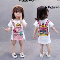 T-shirt [short sleeve] schoolbag T-shirt, [short sleeve] strap T-shirt, [short sleeve] bow T-shirt, [short sleeve] little girl T-shirt, [long sleeve] schoolbag T-shirt, [long sleeve] strap T-shirt Other / other 80cm,90cm,100cm,110cm,120cm,130cm female summer Short sleeve Crew neck Korean version