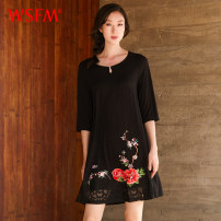 Dress Spring of 2019 black Short skirt elbow sleeve Half open collar Socket 35-39 years old 30% and below Lycra Lycra Viscose fiber (viscose fiber) 94% polyurethane elastic fiber (spandex) 6% Same model in shopping mall (sold online and offline)