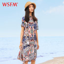 Dress Summer of 2019 Mid length dress singleton  Short sleeve commute Polo collar Loose waist Decor Socket other routine Others 35-39 years old ethnic style More than 95% silk Mulberry silk 100% Same model in shopping mall (sold online and offline)