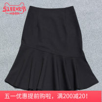 skirt Summer 2020 S,M,L,XL,2XL,3XL,4XL,5XL Black summer , Black spring and Autumn Middle-skirt Versatile High waist A-line skirt Solid color Type A 25-29 years old More than 95% other nylon Ruffle, zipper, stitching 181g / m ^ 2 (including) - 200g / m ^ 2 (including)