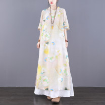 Dress Summer 2021 Yellow grey M L longuette singleton  elbow sleeve commute Crew neck Loose waist Decor Socket A-line skirt routine Others 30-34 years old Type A Jian Tian Retro Pocket button print inner hem JT21A81140 More than 95% hemp Ramie 100% Pure e-commerce (online only)