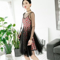 Dress Summer of 2018 black S M L Short skirt Two piece set Long sleeves Sweet Crew neck High waist Socket A-line skirt routine Others 25-29 years old change she Pleated screen printing More than 95% polyester fiber Polyester 100% Pure e-commerce (online only)