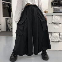 Casual pants Korea studios Youth fashion black Average size routine trousers Travel? easy Micro bomb Four seasons teenagers tide 2020 Medium high waist Straight cylinder Polyester 100% Overalls Fashion brand