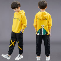 suit 2 pieces Zipper shirt children Learning reward 19-449 Autumn 2021 4 years old, 5 years old, 6 years old, 7 years old, 8 years old, 9 years old, 10 years old, 11 years old, 12 years old, 13 years old, 14 years old Zhanhe male spring and autumn motion routine There are models in the real shot