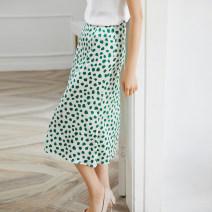 skirt Summer 2020 S,M,L,XL Fresh green Mid length dress fresh Natural waist A-line skirt Type A More than 95% Silk and satin silk printing