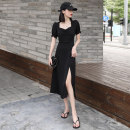 Dress Summer 2020 Black (long split) S,M,L,XL,2XL longuette singleton  Short sleeve commute square neck High waist Solid color Socket A-line skirt puff sleeve Others Type A M.BHOLLYLI Korean version Pleating, stitching, asymmetry, zipper MB-201036-1 51% (inclusive) - 70% (inclusive) other other