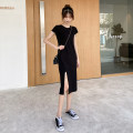 Dress Spring 2020 black S,M,L,XL Mid length dress singleton  Short sleeve commute Crew neck High waist Solid color Socket One pace skirt routine Others Type H M.BHOLLYLI MB-201843 91% (inclusive) - 95% (inclusive) other cotton