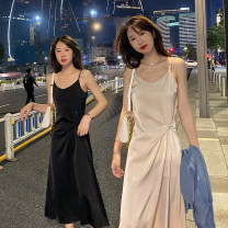 Dress Summer 2021 Black, green, new grey blue, apricot powder XS,S,M,L,XL,2XL longuette singleton  commute V-neck Loose waist Solid color Socket A-line skirt camisole Type A Other / other Simplicity Bright silk, asymmetric, button, mercerized bright face More than 95% Cellulose acetate