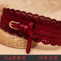 Belt / belt / chain Double skin leather female belt Versatile Single loop Youth, youth, middle age Pin buckle Flower design Embossing 7cm alloy