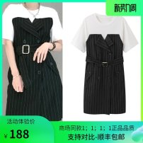 Dress Spring 2021 Black and white stripe, apricot black stripe S,M,L Mid length dress singleton  Short sleeve commute Crew neck middle-waisted Abstract pattern Socket routine Rofico desu MBA2DRS043 51% (inclusive) - 70% (inclusive) polyester fiber