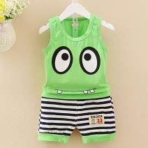 suit Troy Light green vest big eyes green dark blue vest big eyes blue 100cm 73cm 66cm 80cm 120cm 110cm 90cm male summer Korean version Sleeveless + pants 2 pieces Thin money No model Socket nothing Cartoon animation cotton colleague Giving presents at school Class A Cotton 95% other 5% 3 months