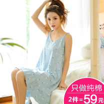 Nightdress M L XL XXL Sweet camisole Leisure home Middle-skirt summer Cartoon animation youth V-neck cotton printing More than 95% CW06 Summer 2017 Cotton 95% polyurethane elastic fiber (spandex) 5% Pure e-commerce (online only)