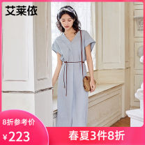 Dress Spring 2021 White sand apricot pure blue 155 160 165 Mid length dress High waist 25-29 years old Real / Ailey More than 95% other Other 100%