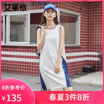 Dress Spring 2021 Pure white 155 160 170 165 Mid length dress singleton  Sleeveless Crew neck Socket 25-29 years old Real / Ailey More than 95% cotton Cotton 95% polyurethane elastic fiber (spandex) 5%