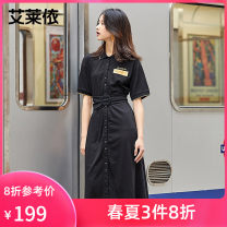 Dress Spring 2021 carbon black 155 160 170 165 Mid length dress singleton  Short sleeve commute Polo collar High waist Single breasted routine 25-29 years old Real / Ailey Simplicity More than 95% other Other 100%