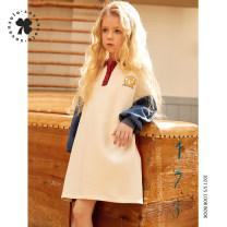 Dress Apricot female Seven solo 110cm 120cm 130cm 140cm 150cm 160cm Cotton 62% polyester 38% spring and autumn leisure time Long sleeves other cotton A-line skirt Class B Spring 2021 Chinese Mainland Zhejiang Province Hangzhou