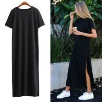 Dress Summer 2020 Black, dark blue S, M longuette Short sleeve street Crew neck routine 18-24 years old Cute space 91% (inclusive) - 95% (inclusive) cotton