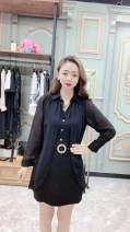 Dress Summer 2021 black L,XL,2XL,3XL Long sleeves V-neck Socket routine 25-29 years old
