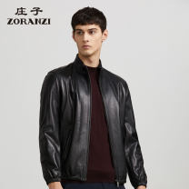 leather clothing Zoranzi Zhuangzi Business gentleman Black embossing-lmq10815 175/96A 180/100A 180/104A routine Leather clothes stand collar easy zipper autumn leisure time middle age Other 100% Simplicity in Europe and America LMQ10815 other Zipper bag Style details other Autumn 2012