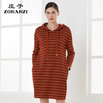 Dress Autumn of 2019 160/84A 165/88A 170/92A Mid length dress singleton  Long sleeves commute Hood Loose waist routine Others 30-34 years old Type H Zoranzi Zhuangzi 81% (inclusive) - 90% (inclusive) polyester fiber Same model in shopping mall (sold online and offline)