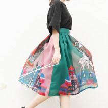 skirt Summer of 2019 S,M,L,XL,2XL Decor Mid length dress dream High waist Fluffy skirt other Type A Zipper, print