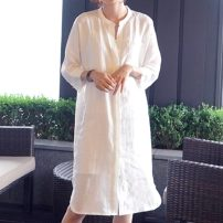Dress Summer 2020 White, dark blue One size fits all spot delivery, one size fits all (order for 5 days) Mid length dress singleton  three quarter sleeve commute Half open collar Loose waist Solid color Single breasted other Sleeve Others 35-39 years old Type H Simplicity More than 95% other hemp