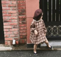 Dress Coffee apricot contrast Other / other female 80cm 90cm 100cm 110cm 120cm 130cm 140cm Cotton 95% other 5% spring and autumn Korean version Long sleeves lattice cotton A-line skirt