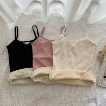 Vest sling Winter 2020 White, black, pink Average size singleton  routine Self cultivation Versatile camisole Solid color 18-24 years old 31% (inclusive) - 50% (inclusive) cotton