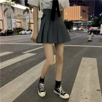 skirt Spring 2021 S,M,L,XL Gray, black, white Short skirt Sweet High waist Pleated skirt Solid color Type A 18-24 years old 91% (inclusive) - 95% (inclusive) cotton college
