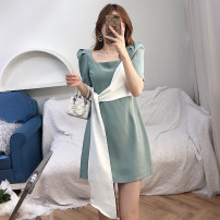 Dress Spring 2021 Black, white, green S,M,L Short skirt singleton  Short sleeve commute square neck High waist zipper A-line skirt routine 18-24 years old Type A Korean version Button, lace up 5422A-9LYQ046 31% (inclusive) - 50% (inclusive)