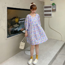 Women's large Summer 2021 Purple, pink Big size average Dress singleton  commute easy thin Socket Short sleeve Broken flowers Korean version square neck Polyester, cotton bishop sleeve Other / other 18-24 years old 51% (inclusive) - 70% (inclusive) Short skirt other
