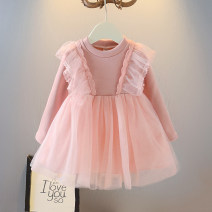 Dress Off white, pink female Other / other 73cm,80cm,90cm,100cm,110cm,120cm Cotton 90% other 10% winter Korean version Long sleeves Solid color cotton Cake skirt 12 months, 9 months, 18 months, 2 years old, 3 years old, 4 years old, 5 years old, 6 years old