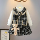 Dress female Other / other 80cm,90cm,100cm,110cm,120cm,130cm Cotton 90% other 10% spring and autumn Korean version lattice other Splicing style 12 months, 18 months, 2 years old, 3 years old, 4 years old, 5 years old, 6 years old