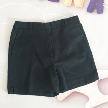 Suit pants / suit pants S black Summer 2021 Straight cylinder middle-waisted shorts routine N4-2-G01 Korean version