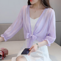 Lace / Chiffon Summer 2021 Purple, white S,M,L,XL,2XL three quarter sleeve Versatile Cardigan singleton  easy have cash less than that is registered in the accounts V-neck Solid color routine Lunkeyidu FT-021
