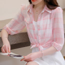 Lace / Chiffon Summer 2021 Yellow, pink S,M,L,XL,2XL three quarter sleeve commute Cardigan singleton  easy have cash less than that is registered in the accounts stand collar lattice routine Lunkeyidu FT-009 Korean version
