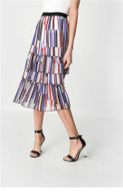 skirt Summer of 2019 XS,S,M,L,XL Navy Blue Mid length dress Versatile Natural waist Pleated skirt stripe Type A 25-29 years old Chiffon polyester fiber