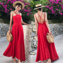 Dress Summer of 2018 White, red S,M,L,XL longuette singleton  Sleeveless Sweet High waist Solid color zipper Big swing camisole 18-24 years old Type A Other / other backless Bohemia