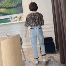 Jeans Spring 2021 S,M,L,XL trousers Natural waist Straight pants routine Worn, washed, bleached, zipper, button, multi pocket Striped denim light colour 96% and above