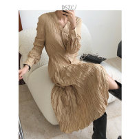 Dress Autumn 2020 Black, maroon Average size longuette singleton  Long sleeves commute V-neck High waist Single breasted Irregular skirt routine 18-24 years old Type A Korean version Pleats, stitches, buttons DS201065 More than 95% polyester fiber
