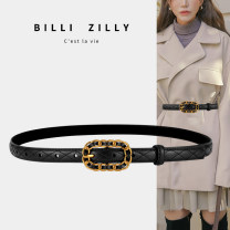 Belt / belt / chain Double skin leather Black brown Dark Khaki female belt Versatile Single loop Middle aged youth Pin buckle Glossy surface Glossy surface 1.8cm alloy Light body thick line decoration candy color elastic BILLI ZILLY BZ20M01016190 Winter 2020 no