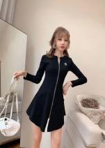 Dress Autumn of 2019 Black, pink M, L Short skirt singleton  Long sleeves commute Crew neck zipper T-type Other / other brocade