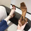 Sandals 35 36 37 38 39 Black light brown Other / other PU Barefoot Thick heel Middle heel (3-5cm) Summer of 2018 Flat buckle Korean version Solid color