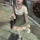 Fashion suit Summer 2021 S, M Button short sleeve, grey bean pleated skirt 18-25 years old