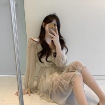 Dress Spring 2021 Apricot, green, pink Average size Short skirt singleton  Long sleeves commute Crew neck High waist Solid color Socket A-line skirt routine 18-24 years old Type A Other / other G0110 Chiffon polyester fiber