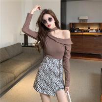 Dress Spring 2021 Brown, black S,M,L Short skirt Two piece set Long sleeves commute Slant collar High waist Socket A-line skirt Oblique shoulder Retro